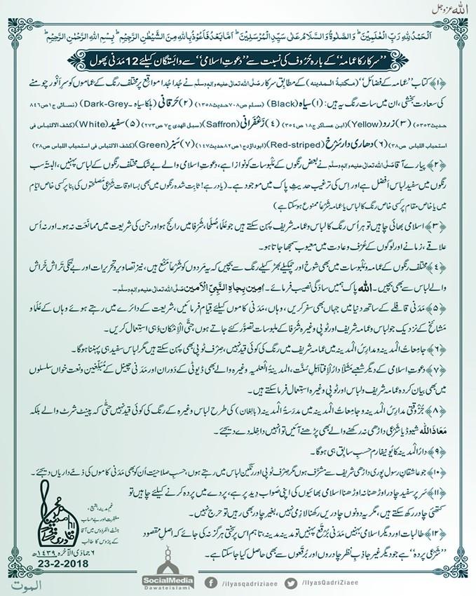 Imama Aur Libas Kay Hawalay Say Dawateislami Kay Madani Phool