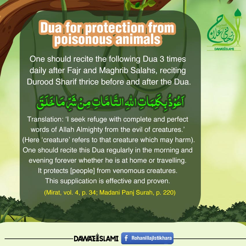 Dua for protection from  poisonous animals