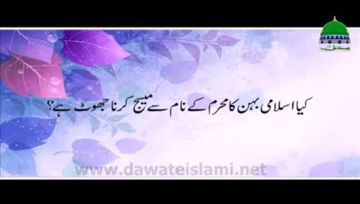 Islami Behen Ka Mehram Kay Naam Say Message Karna Jhot Hai?
