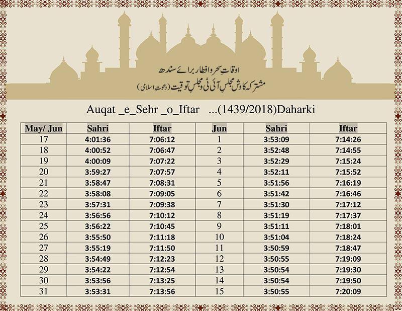 Sahar-o-Iftar Timing 1439 H For Bab-ul-Islam Sindh