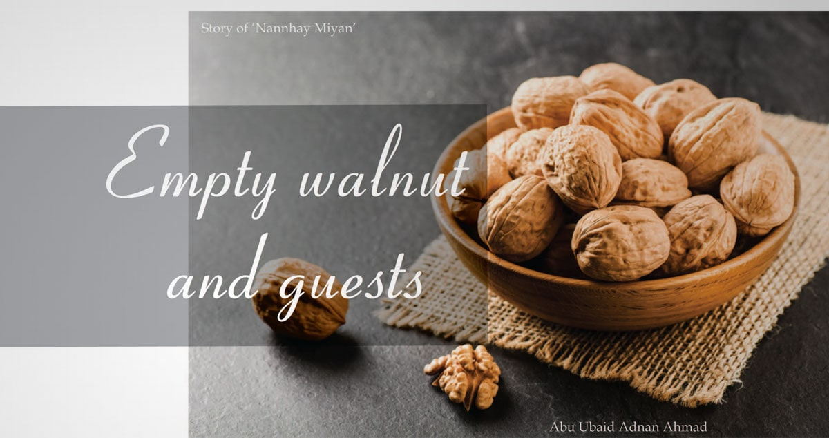 Empty walnut and guests