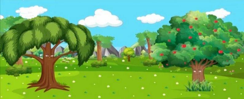 شجرة تفّاحٍ وشجرة نيمٍ